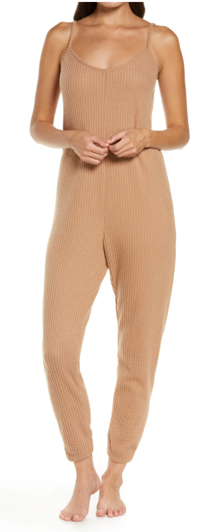 Socialite Cami Waffle Jumpsuit in Camel