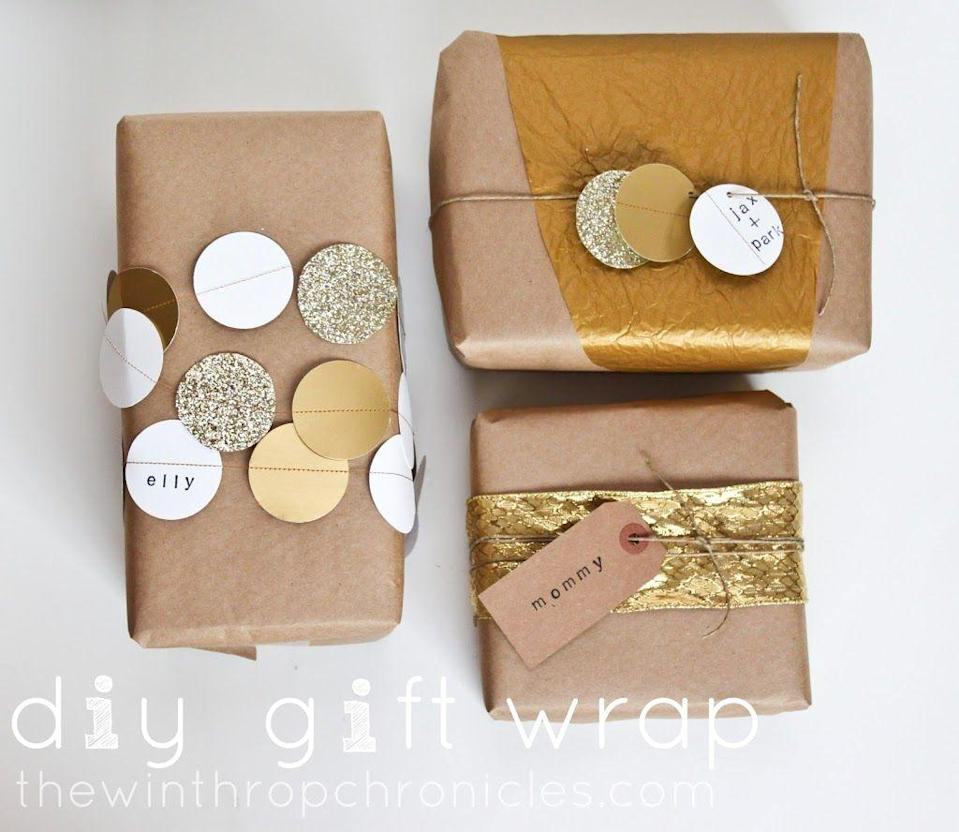 """<p>Repurpose a birthday garland—or, if you're feeling ambitious, create your own—to add flair to any special delivery. </p><p>Get the tutorial at <a href=""""http://www.colorsandcraft.com/2012/12/diy-gift-wrap"""" rel=""""nofollow noopener"""" target=""""_blank"""" data-ylk=""""slk:Colors + Craft"""" class=""""link rapid-noclick-resp"""">Colors + Craft</a>.</p><p><a class=""""link rapid-noclick-resp"""" href=""""https://www.amazon.com/RUBFAC-Garland-Glitter-Decorations-Birthday/dp/B07Q8THGGH/?tag=syn-yahoo-20&ascsubtag=%5Bartid%7C10072.g.34015639%5Bsrc%7Cyahoo-us"""" rel=""""nofollow noopener"""" target=""""_blank"""" data-ylk=""""slk:SHOP GARLAND"""">SHOP GARLAND</a></p>"""