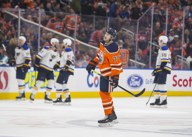 Edmonton Oilers' Oscar Klefbom (77) reacts to a St. Louis Blues empty-net goal during the third period of an NHL hockey game Wednesday, Nov. 6, 2019, in Edmonton, Alberta. (Amber Bracken/The Canadian Press via AP)