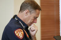 Unified Fire Authority's Jay Torgersen pauses while talking to media after a press conference in Draper, Utah, on Tuesday, Aug. 14, 2018. Draper Battalion Chief Matthew Burchett was killed on Monday night while fighting the largest blaze in California history, the Mendocino Complex fire north of San Francisco. (Jeffrey D. Allred/The Deseret News via AP)
