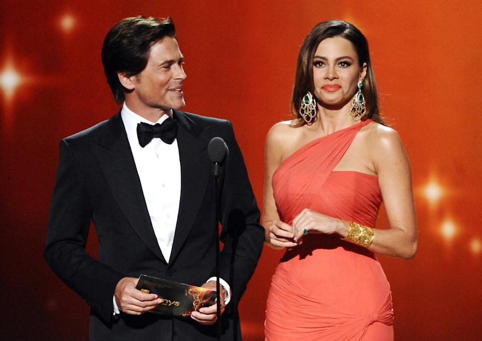LOS ANGELES, CA - SEPTEMBER 18: Rob Lowe (L) and Sofia Vergara onstage at the Academy of Television Arts & Sciences 63rd Primetime Emmy Awards at Nokia Theatre L.A. Live on September 18, 2011 in Los Angeles, California. (Photo by Michael Becker/Invision for the Academy of Television Arts & Sciences/AP Images)