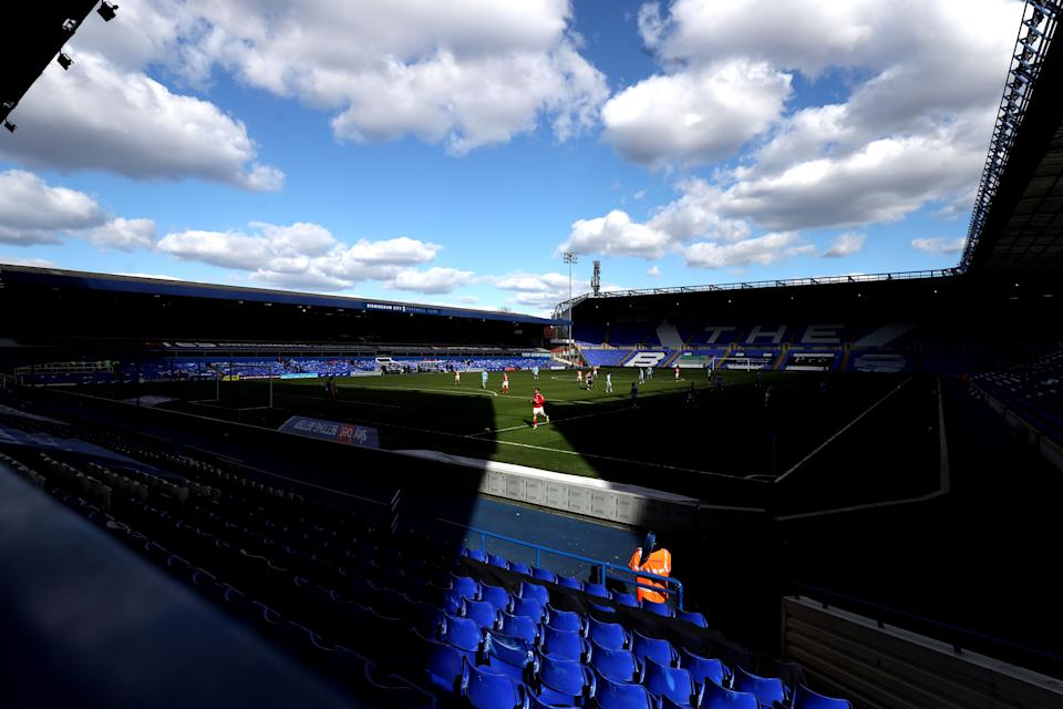Match action in front of empty stands during the Sky Bet Championship match at St. Andrew's Trillion Trophy Stadium, Birmingham. (Photo: Bradley CollyerPA)