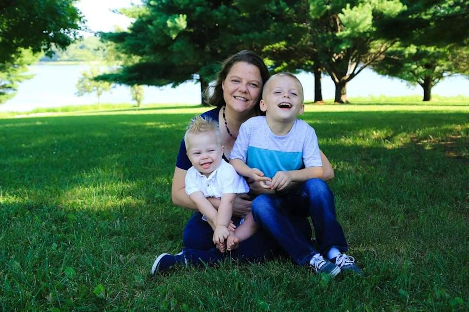 Andrea with her two sons Ryder and Joseph. Source: Jam Press/ Australscope