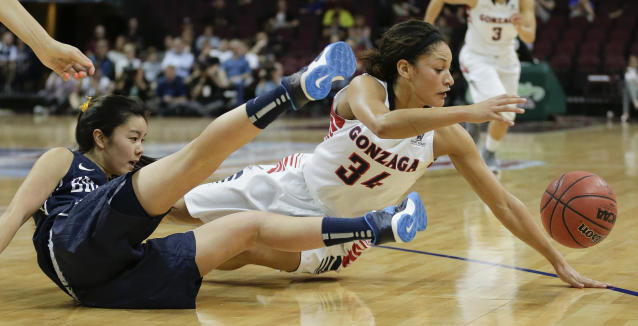 BYU's Kylie Maeda, left, and Gonzaga's Jazmine Redmon scramble for a loose ball in the first half of the NCAA West Coast Conference women's tournament championship college basketball game, Tuesday, March 11, 2014, in Las Vegas. (AP Photo/Julie Jacobson)