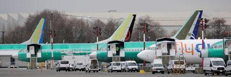 FILE PHOTO: Boeing 737 MAX aircraft are parked at a Boeing production facility in Renton, Washington
