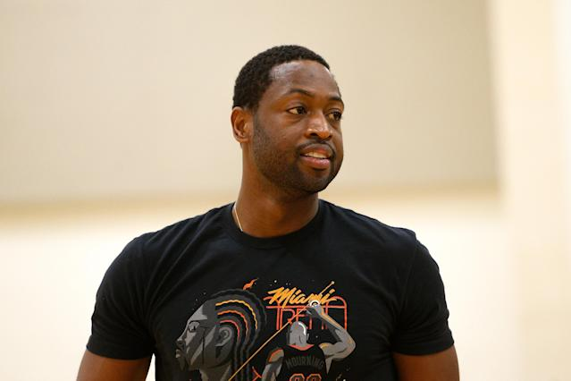 Dwyane Wade doesn't know if he's done with his NBA career, or if he'll put that jersey back on for one more year.. (Photo by Michael Reaves/Getty Images)