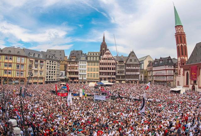 Soccer Football - Eintracht Frankfurt DFB Cup Trophy Presentation - Roemer, Frankfurt, Germany - May 20, 2018 General view of the Roemerberg during Eintracht Frankfurt's trophy presentation. Andreas Arnold/Pool via Reuters