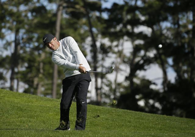 Paul Casey, of England, hits his approach shot up to the 18th green of the Spyglass Hill Golf Course during the third round of the AT&T Pebble Beach Pro-Am golf tournament, Saturday, Feb. 9, 2019, in Pebble Beach, Calif. (AP Photo/Eric Risberg)