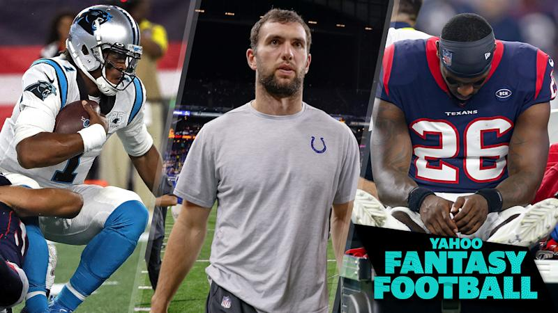 Liz Loza & Matt Harmon discuss the three major news developments from the weekend surrounding Cam Newton, Andrew Luck and Lamar Miller. (Photo Credits L to R: Barry Chin/The Boston Globe via Getty Images; Michael Hickey/Getty Images; Andrew Dieb/Icon Sportswire via Getty Images)
