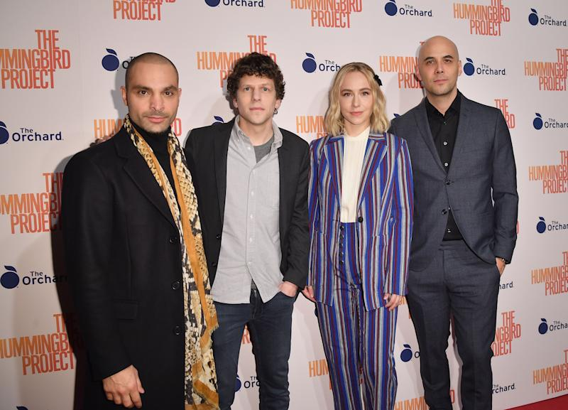 (L-R) Actors Michael Mando, Jesse Eisenberg, Sarah Goldberg and director Kim Nguyen attend the 'The Hummingbird Project' New York screening at Metrograph on March 11, 2019 in New York City. (Photo by Angela Weiss / AFP) (Photo credit should read ANGELA WEISS/AFP via Getty Images)