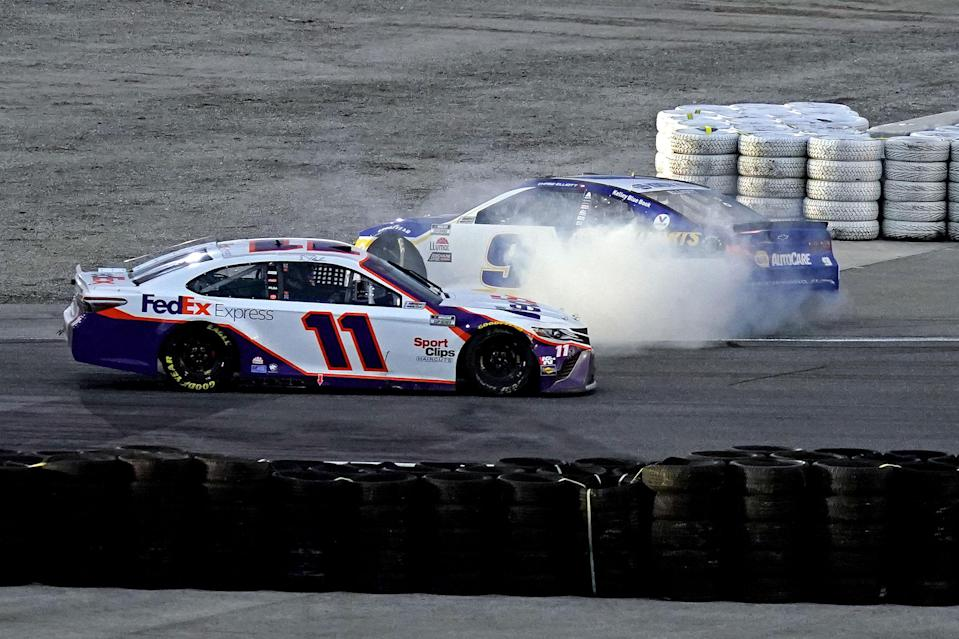 "<em>Chase Elliott, who led a race-high 44 laps Sunday, spins after late-race contact with <a class=""link rapid-noclick-resp"" href=""https://www.rotoworld.com/auto-racing/nascar/player/48231/denny-hamlin"" rel=""nofollow noopener"" target=""_blank"" data-ylk=""slk:Denny Hamlin"">Denny Hamlin</a> on the Daytona International Speedway road course (Jasen Vinlove-USA TODAY Sports).</em>"