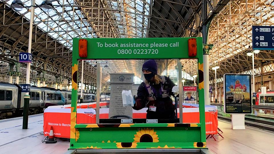 An assistance buggy being cleaned at Manchester Piccadilly station (Network Rail/PA) (PA Media)