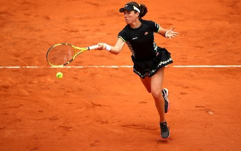 Johanna Konta of Great Britain plays a forehand during her ladies singles semi-final match against Marketa Vondrousova of The Czech Republic during Day thirteen of the 2019 French Open at Roland Garros on June 07, 2019 in Paris, France - Credit: Getty Images