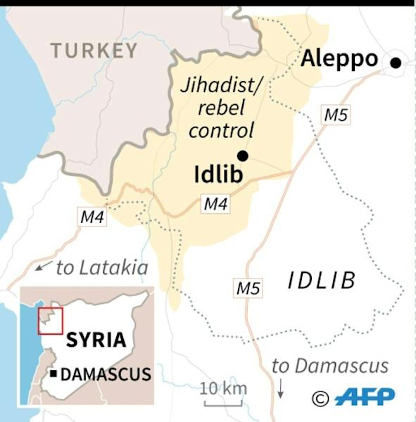 Map of Syria's Idlib province locating the M4 and M5 highways