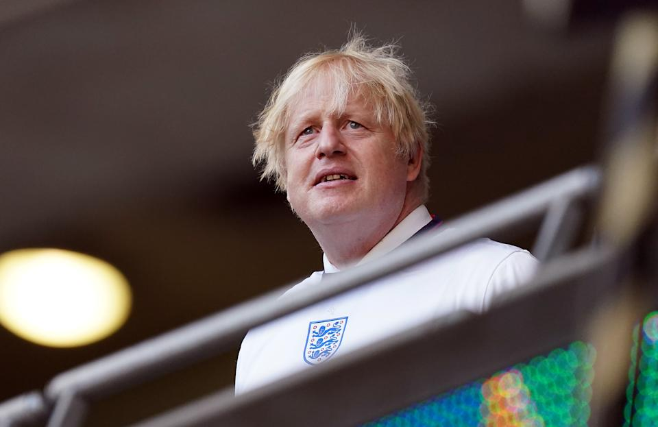 Prime minister Boris Johnson in the stands during the UEFA Euro 2020 semi final match at Wembley Stadium, London. Picture date: Wednesday July 7, 2021. (Photo by Mike Egerton/PA Images via Getty Images)
