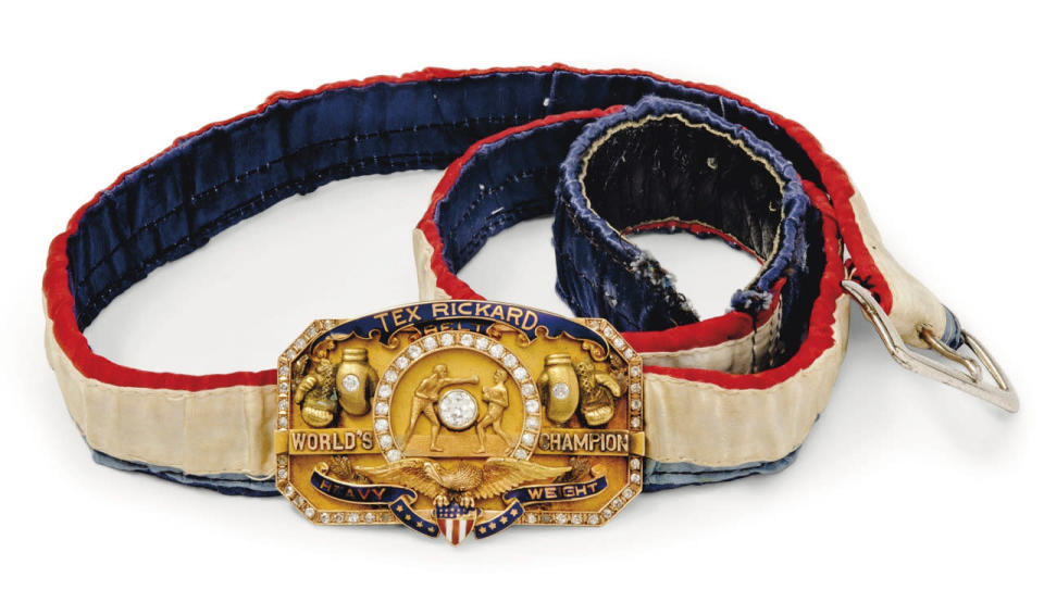 """<p>A 14k gold, diamond and enamel world heavyweight title belt belonging to William Harrison """"Jack"""" Dempsey is among the eclectic items on sale at Christie's Out of the Ordinary auction. (David Gainsborough Roberts Collection/Christie's/PA Wire)</p>"""