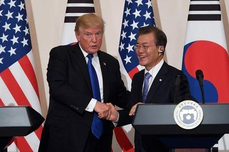 FILE PHOTO: U.S. President Trump and South Korea's President Moon Jae-in hold a joint press conference in Seoul