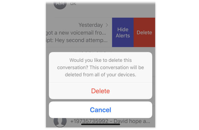 You get a warning when you're deleting a whole conversation, but not when you delete a single message.
