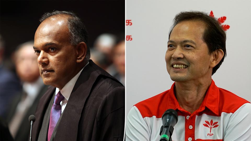 Law and Home Affairs Minister K Shanmugam (left) has challenged the PSP's Leong Mun Wai (right) to debate CECA in Parliament. (Yahoo News Singapore file photos)