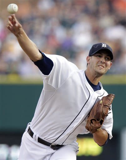 Detroit Tigers starter Rick Porcello pitches against the Los Angeles Angels in the first inning of a baseball game on Friday, Aug. 24, 2012, in Detroit. (AP Photo/Duane Burleson)