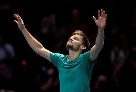 Tennis - ATP World Tour Finals - The O2 Arena, London, Britain - November 18, 2017 Belgium's David Goffin celebrates after winning his semi final match against Switzerland's Roger Federer Action Images via Reuters/Tony O'Brien