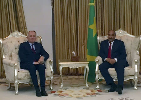 French Foreign Minister Jean-Marc Ayrault and Mauritania's President Mohamed Ould Abdel Aziz meet in Nouakchott
