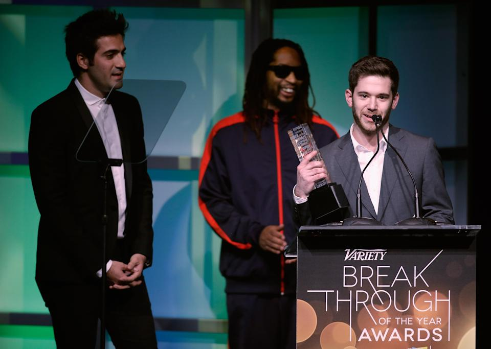 Colin Kroll, at podium, and Rus Yusupov, far left, accept the Breakthrough Award for Emerging Technology at the Variety Breakthrough of the Year Awards in 2014. (Photo: Isaac Brekken)