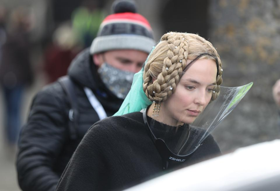 Jodie Comer at Cahir Castle in Co Tipperary on the set of the Last Duel, an historical drama-thriller film directed by Ridley Scott.