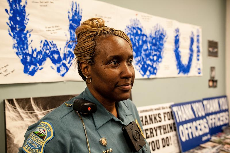 Sgt. Dominica Fuller of the Ferguson Police Department is one of just three black officers who were with the force during the 2014 unrest who are still with the Ferguson Police Department. (Joseph Rushmore For HuffPost)
