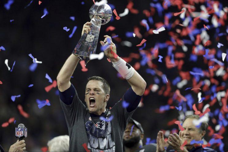 Tom Brady claimed championship No. 5 after leading a historic comeback in the Super Bowl against Atlanta. (AP)