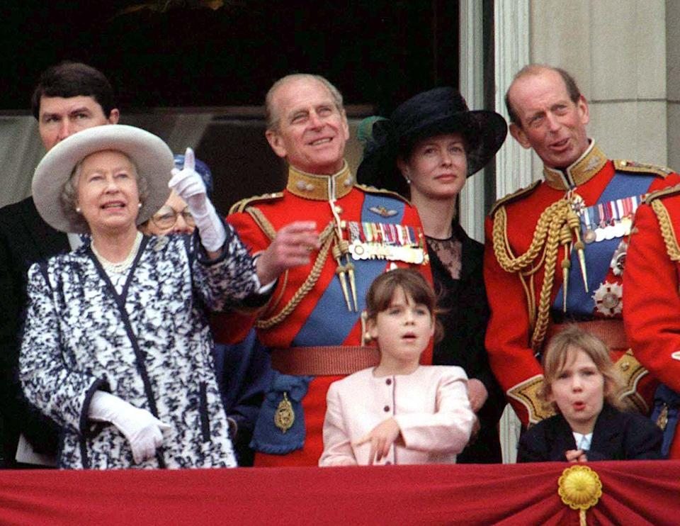 <p>The princesses pose with grandparents Queen Elizabeth II and Prince Philip at the annual Trooping the Colour ceremony. </p>