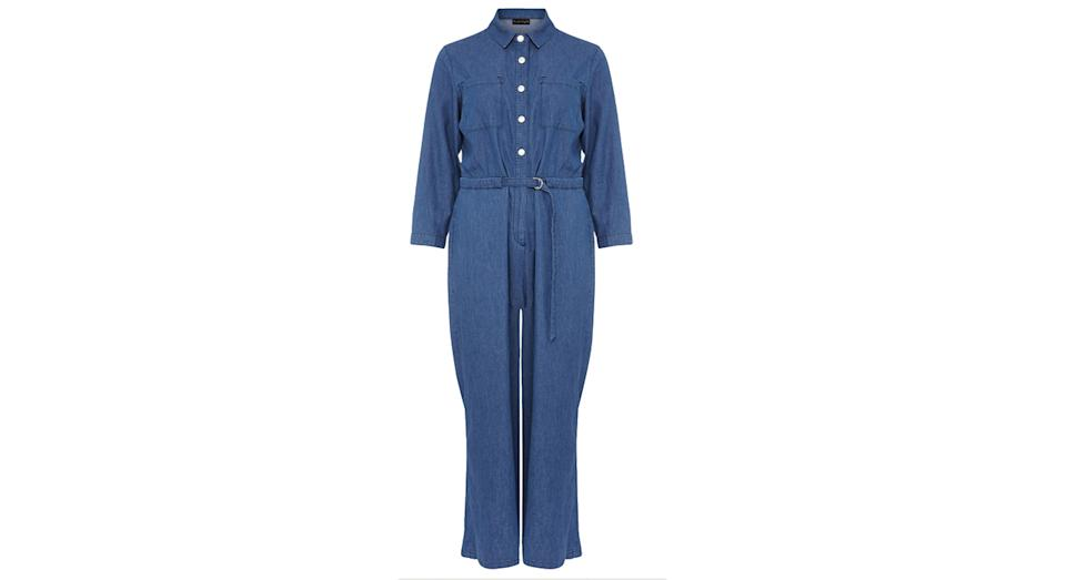 PHASE EIGHT Denim Belted 3/4 Sleeve Cropped Jumpsuit