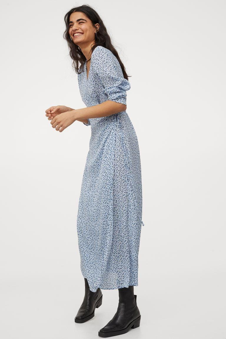 <p>The powder-blue hue of this <span>H&amp;M Calf-Length Wrap Dress</span> ($35) is pretty.</p>