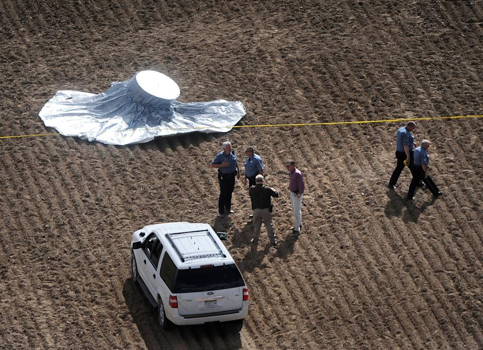 The balloon landed in Weld County, Colorado, after a furious chase by authorities that captivated the nation's attention over concerns for 6-year-old Falcon Heene's safety. (Photo: Craig F. Walker via Getty Images)