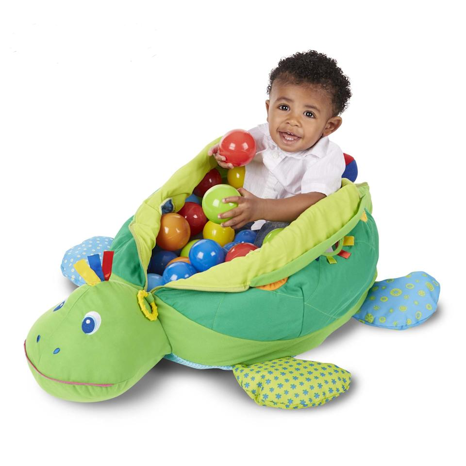 """<p><strong>Melissa & Doug</strong></p><p>amazon.com</p><p><strong>$58.90</strong></p><p><a href=""""http://www.amazon.com/dp/B01B1V28WO/?tag=syn-yahoo-20&ascsubtag=%5Bartid%7C10070.g.28450545%5Bsrc%7Cyahoo-us"""" target=""""_blank"""">Shop Now</a></p><p>Not only is this personal ball pit totally adorable, its various bells and whistles (like crinkly feet, squeakers, rings, and holes to push balls through) are designed to nurture early childhood development.</p>"""
