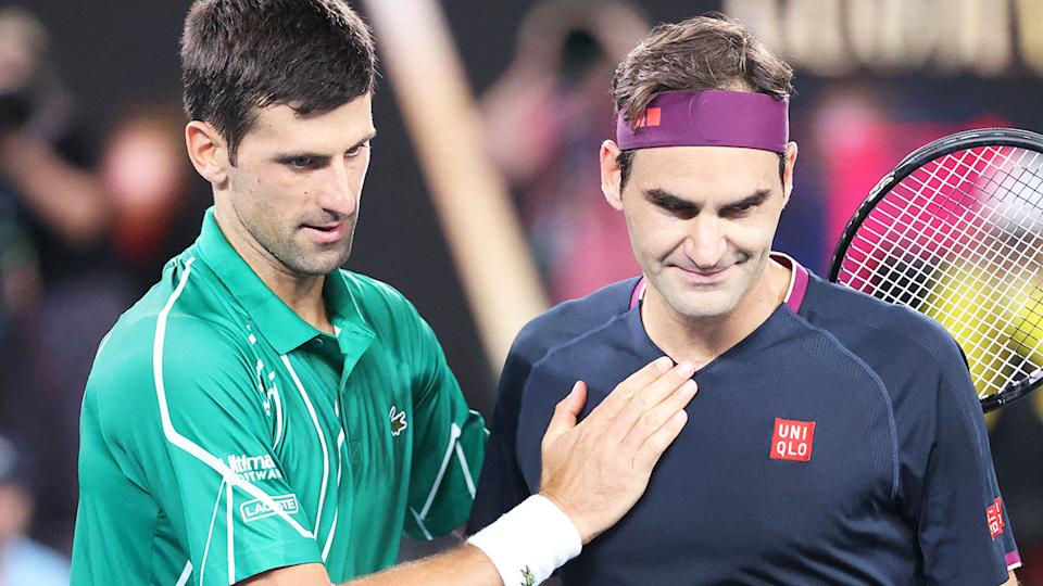 Novak Djokovic and Roger Federer, pictured here at the Australian Open in 2020.