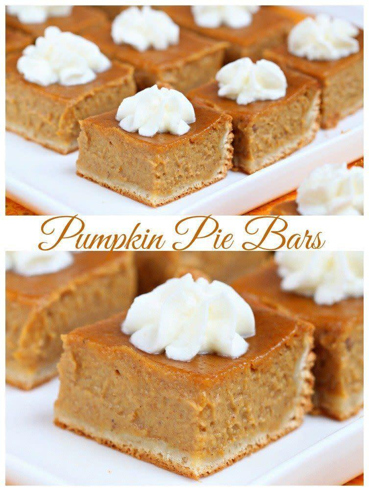 """Who says a slice of pie needs to be, well, a slice? These bars have very few ingredients and the appeal of letting you take more than one on your plate (because they're small, you see!). <a href=""""http://roxanashomebaking.com/pumpkin-pie-bars-recipe/"""" rel=""""nofollow noopener"""" target=""""_blank"""" data-ylk=""""slk:Find the recipe at Roxana's Home Baking"""" class=""""link rapid-noclick-resp"""">Find the recipe at Roxana's Home Baking</a>."""