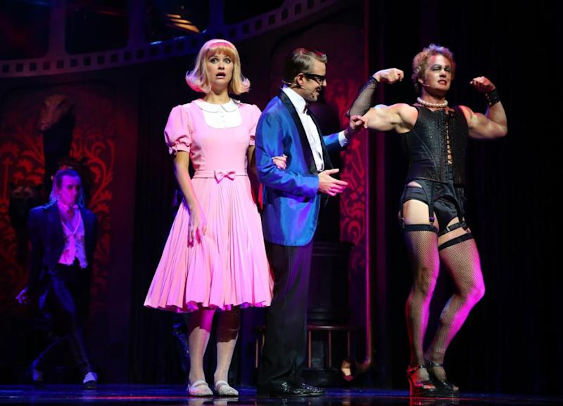 Christie on stage with McLachlan during the Rocky Horror Show. Source: Getty