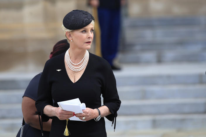 Cindy McCain, glances back towards the hearse carrying her husband's casket, before leaving the cathedral following a memorial service for her husband Sen. John McCain, R-Ariz., at the Washington National Cathedral in Washington, Saturday, Sept. 1, 2018. (AP Photo/Manuel Balce Ceneta)