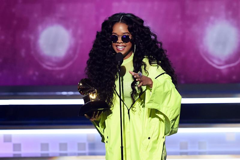 Grammy award-winning artist H.E.R sings with Ed Sheeran on the song I Don't Want Your Money. (Getty)