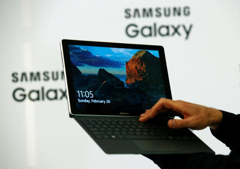 The new Samsung Galaxy Book is displayed during its presentation at Mobile World Congress in Barcelona