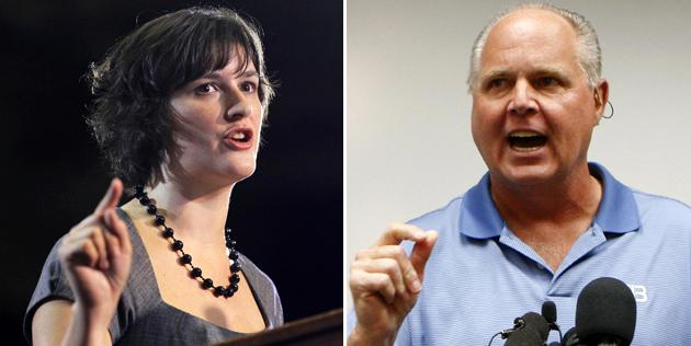 "Radio show host Rush Limbaugh called the Georgetown law student Sandra Fluke a ""slut"" for advocating contraceptive health coverage, vaulting both of them to the forefront of birth control debates in 2012. (Pablo Martinez Monsivais/Chris Carlson/AP Photo)"