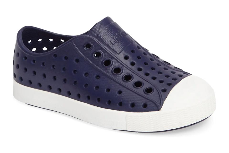 kids shoes, slip on, blue, laceless, native shoes