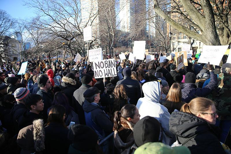 <p>People gather for a rally in New York's Battery Park in New York, Jan. 29, 2017, protesting President Donald Trump's immigration order. (Gordon Donovan/Yahoo News) </p>