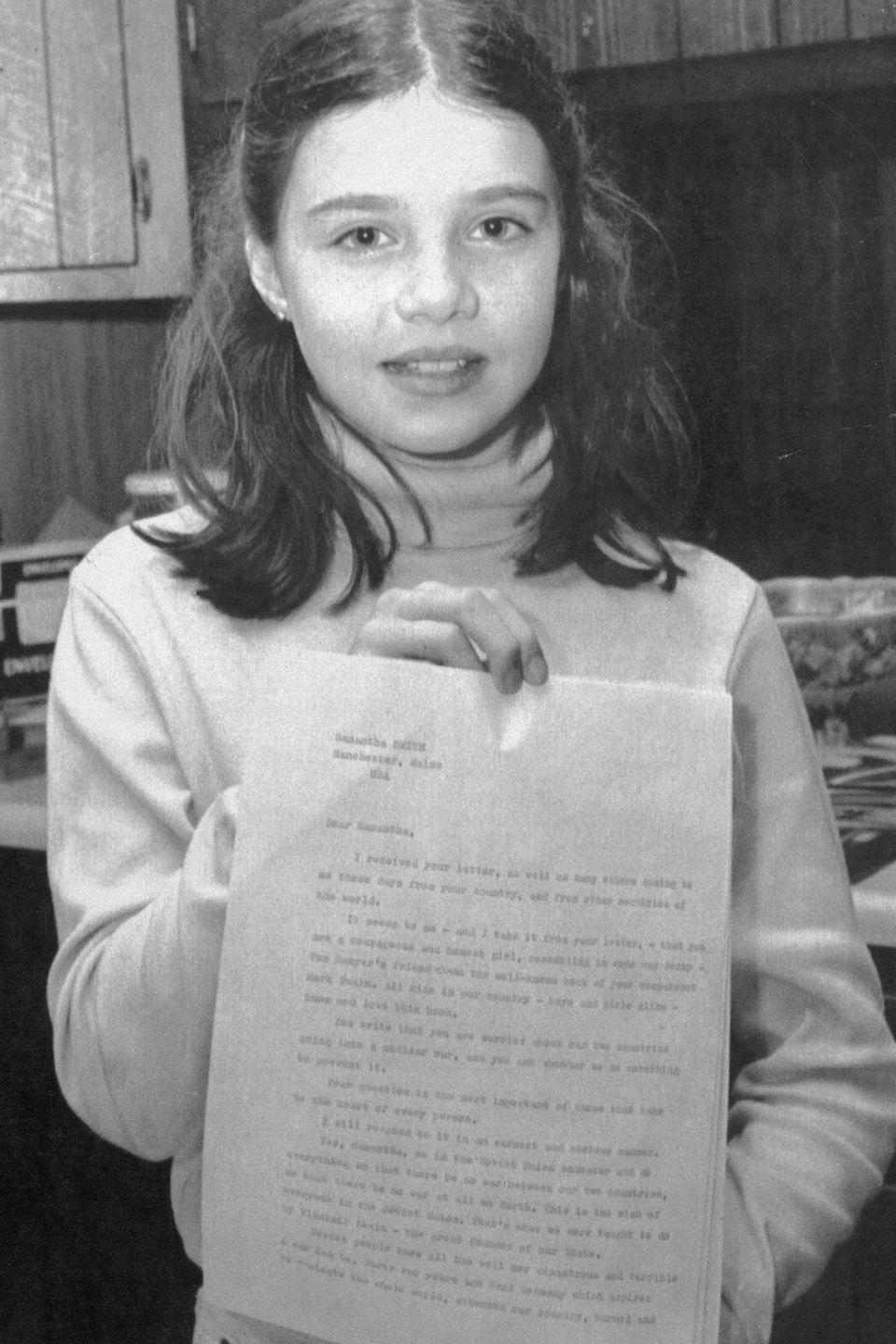 "<p>Further proof that the words of a child can make a huge impact, Smith was only 10 when she eased Cold War tensions between the United States and Russia with a single letter. She wrote a note to CPSU General Secretary Yuri Andropov suggesting that both countries could co-exist peacefully, which ended up getting published in a Soviet newspaper. Andropov responded with an invitation for Smith and her family to visit his country. This experience earned her the role of ""America's Youngest Ambassador,"" and she later brought her message of peace to Japan. She also pursued a television career as an actress and as a special correspondent for the Disney Channel covering the 1984 presidential election. Following her untimely death at 13 in a plane crash, her achievements were celebrated in her Maine hometown and in Russia where a monument was built in her honor.</p>"