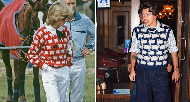 People are saying Styles' look resembles Princess Diana's black sheep jumper. The late princess, left, is pictured here wearing the garment in 1983. [Photo: Getty]