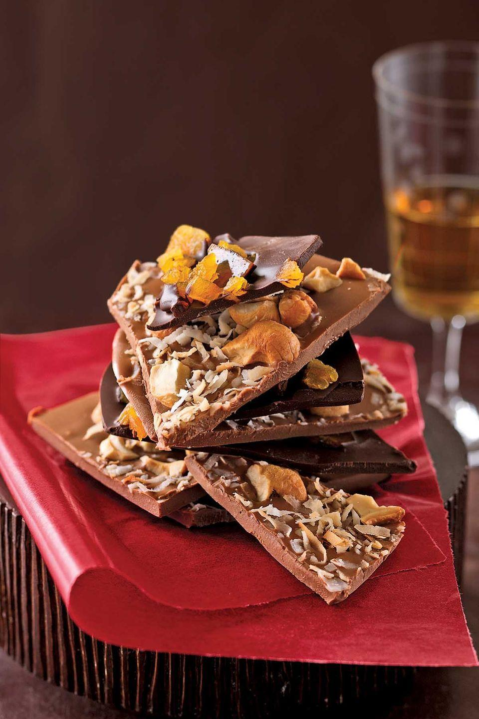 "<p>Requiring just a few simple kitchen utensils, chocolate bark makes a wonderful gift. If you are interested in candy-making, we think you'll find our recipe is the perfect beginning. Customize the bark with your favorite dried fruits and nuts.</p><p><strong><a href=""https://www.countryliving.com/food-drinks/recipes/a786/chocolate-bark/"" rel=""nofollow noopener"" target=""_blank"" data-ylk=""slk:Get the recipe"" class=""link rapid-noclick-resp"">Get the recipe</a>.</strong><br></p>"