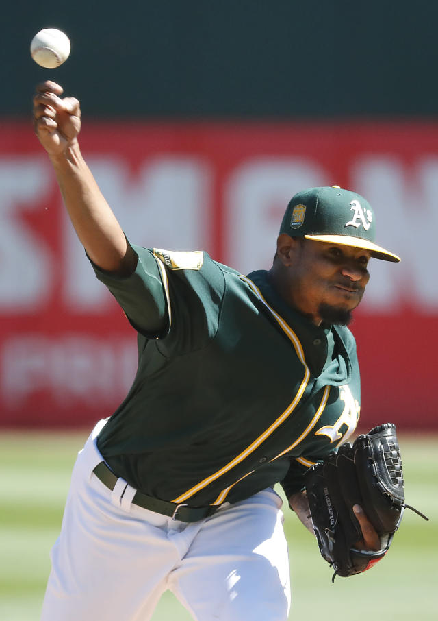 Oakland Athletics starting pitcher Edwin Jackson (37) throws against the Los Angeles Angels during the first inning of a baseball game in Oakland, Calif., Thursday, Sept. 20, 2018. (AP Photo/Tony Avelar)