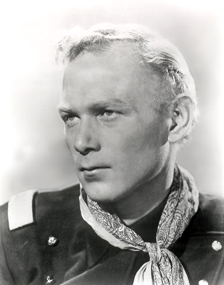 "This 1940s publicity photo released by SCVHistory.com (Santa Clarita Valley Historical Society) shows actor, Harry Carey, Jr., in character from the film, ""She Wore A Yellow Ribbon."" Carey Jr. starred in such Westerns as ""3 Godfathers"" and ""Wagon Master."" His daughter, Melinda Carey, said he died Thursday, Dec. 27, 2012, of natural causes surrounded by friends and family at a hospice facility in Santa Barbara, Calif. (AP Photo/SCVHistory.com)"