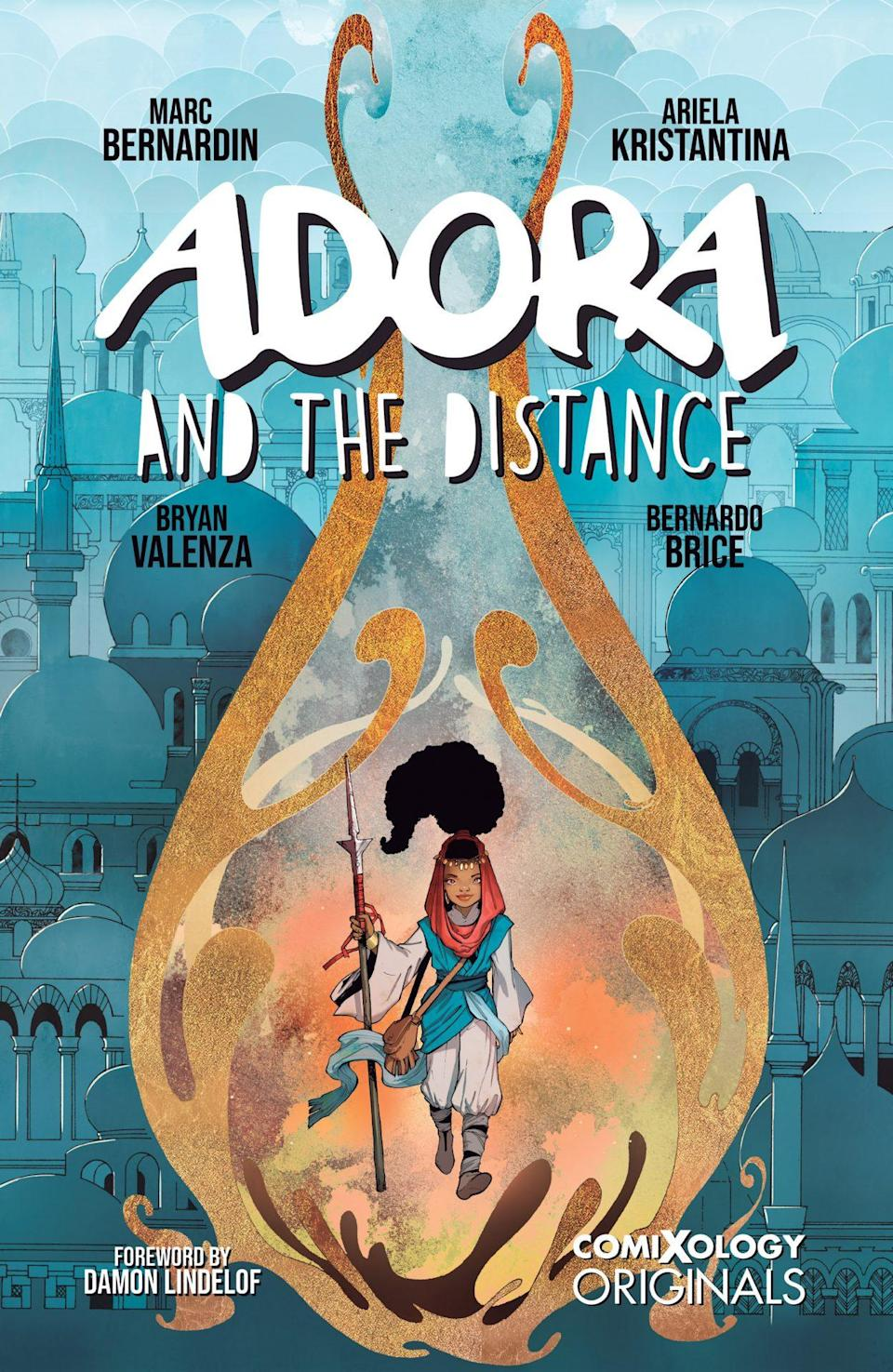 An illustrated girl in the middle of a yellow circle on a blue background on the cover of Adora and the Distance